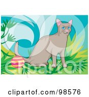 Royalty Free RF Clipart Illustration Of A Cat Playing With A Ball 2 by mayawizard101