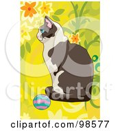 Royalty Free RF Clipart Illustration Of A Cat Playing With A Ball 7 by mayawizard101