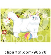 Royalty Free RF Clipart Illustration Of A Cat Playing With A Ball 5 by mayawizard101