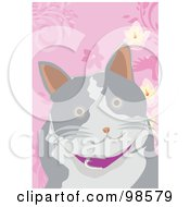 Royalty Free RF Clipart Illustration Of A Happy Gray And White Cat by mayawizard101