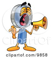 Clipart Picture Of A Magnifying Glass Mascot Cartoon Character Screaming Into A Megaphone by Toons4Biz