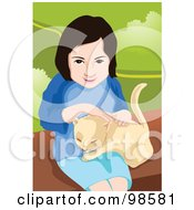 Royalty Free RF Clipart Illustration Of A Little Girl Sitting And Petting Her Cat by mayawizard101