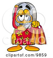 Magnifying Glass Mascot Cartoon Character In Orange And Red Snorkel Gear