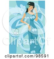 Royalty Free RF Clipart Illustration Of A Woman Listening To Music 20