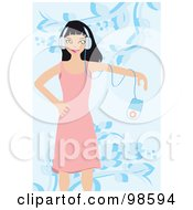 Royalty Free RF Clipart Illustration Of A Woman Listening To Music 14