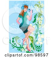 Royalty Free RF Clipart Illustration Of A Woman Listening To Music 17