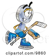 Clipart Picture Of A Magnifying Glass Mascot Cartoon Character Playing Ice Hockey by Toons4Biz
