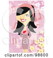 Royalty Free RF Clipart Illustration Of A Woman Listening To Music 24