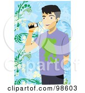 Royalty Free RF Clipart Illustration Of A Young Man Listening To Music Through His Cell Phone by mayawizard101