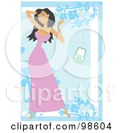Royalty Free RF Clipart Illustration Of A Woman Listening To Music 12