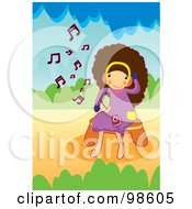 Royalty Free RF Clipart Illustration Of A Happy Girl Listening To Music 4