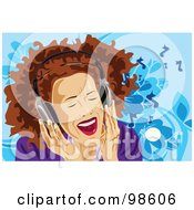 Royalty Free RF Clipart Illustration Of A Woman Listening To Music 16