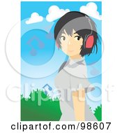 Royalty Free RF Clipart Illustration Of A Woman Listening To Music 21
