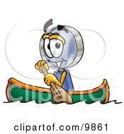 Magnifying Glass Mascot Cartoon Character Rowing A Boat