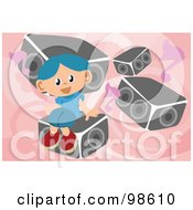 Royalty Free RF Clipart Illustration Of A Boy Listening To Music 2
