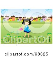 Royalty Free RF Clipart Illustration Of A Happy Girl Watering Trees Near A Village
