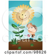 Royalty Free RF Clipart Illustration Of A Man Watering His Giant Sunflower by mayawizard101
