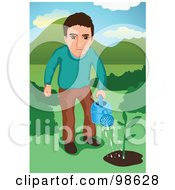 Royalty Free RF Clipart Illustration Of A Man Watering A Small Tree