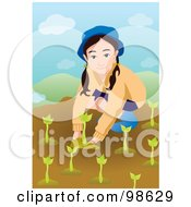 Royalty Free RF Clipart Illustration Of A Little Girl Planting Tree Seedlings