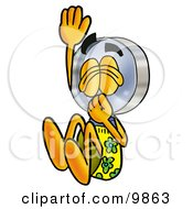 Clipart Picture Of A Magnifying Glass Mascot Cartoon Character Plugging His Nose While Jumping Into Water