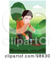 Royalty Free RF Clipart Illustration Of A Little Boy Kneeling To Plant A Tree
