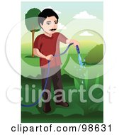 Royalty Free RF Clipart Illustration Of A Man Using A Garden Hose To Water A Plant