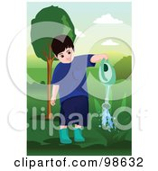 Little Boy Watering A Plant In A Yard