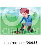 Royalty Free RF Clipart Illustration Of A Man Shoveling Dirt On A Newly Planted Tree