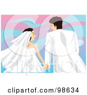 Royalty Free RF Clipart Illustration Of A Loving Wedding Couple 4 by mayawizard101