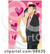 Royalty Free RF Clipart Illustration Of A Loving Wedding Couple 7