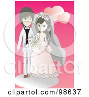Royalty Free RF Clipart Illustration Of A Loving Wedding Couple 3 by mayawizard101