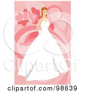 Royalty Free RF Clipart Illustration Of An Elegant Bride In A Strapless Gown