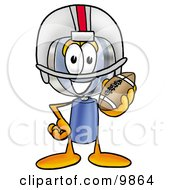 Clipart Picture Of A Magnifying Glass Mascot Cartoon Character In A Helmet Holding A Football
