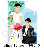Royalty Free RF Clipart Illustration Of A Loving Wedding Couple 6 by mayawizard101