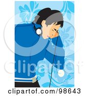 Royalty Free RF Clipart Illustration Of A Boy Listening To Music 1