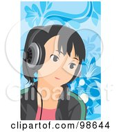Royalty Free RF Clipart Illustration Of A Happy Girl Listening To Music 5