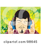 Royalty Free RF Clipart Illustration Of A Man Listening To Music
