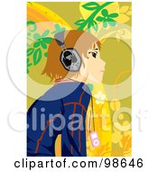 Royalty Free RF Clipart Illustration Of A Happy Girl Listening To Music 6