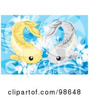 Royalty Free RF Clipart Illustration Of Two Swimming Koi Fish 1 by mayawizard101
