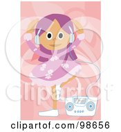 Royalty Free RF Clipart Illustration Of A Happy Girl Listening To Music 1