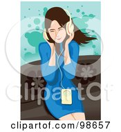 Royalty Free RF Clipart Illustration Of A Woman Listening To Music 1
