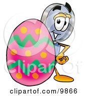 Clipart Picture Of A Magnifying Glass Mascot Cartoon Character Standing Beside An Easter Egg