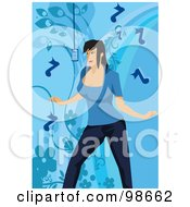 Royalty Free RF Clipart Illustration Of A Musical Woman Singing 1