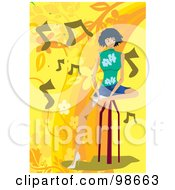 Royalty Free RF Clipart Illustration Of A Woman Listening To Music 6 by mayawizard101