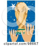 Hands Holding A Soccer Cup Trophy 2