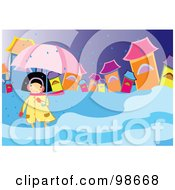 Royalty Free RF Clipart Illustration Of A Woman In A Puddle On A Rainy Day by mayawizard101