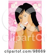 Royalty Free RF Clipart Illustration Of A Friendly Asian Woman Talking On A Cell Phone by mayawizard101