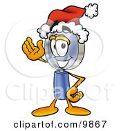 Clipart Picture Of A Magnifying Glass Mascot Cartoon Character Wearing A Santa Hat And Waving by Toons4Biz