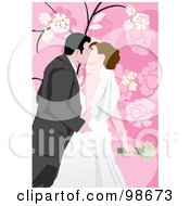Royalty Free RF Clipart Illustration Of A Loving Wedding Couple 9 by mayawizard101