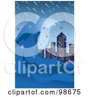 Royalty Free RF Clipart Illustration Of A Tsunami Wave Towering Over City Skyscrapers by mayawizard101